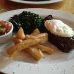 Brazilian Steak , Yucca Fries, Collard Greens and Salsa