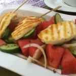 Grilled Haloumi - summer salad