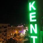 The Kent hotel sign at night