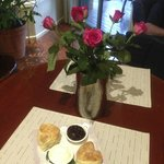 roses and heart shaped scones