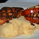 Wild King Salmon with Fire-roasted Beefsteak broiled tomatoes