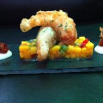 Shrimp served with tropical salsa
