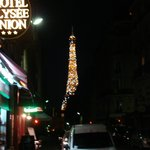 Eiffel Tower at night from the street