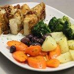 Bacalhau Grelhado com Legumes na Manteiga