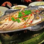 steamed fish in lime, chilli & garlic sauce