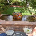 Margaritas at day's end in the interior courtyard