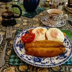 Eggs, Kippers, Toast & Tomato with great coffee!