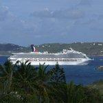 Cruise Ship Entering Harbor from Balcony