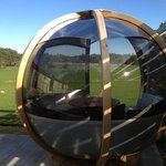sphere next to hot tub. unusual but relaxing and acoustically captures the sounds of the area. l