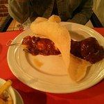 Chicken satay with prawn cracker