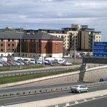 View from pedestrian bridge over motorway