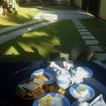 Al fresco breakfast in front of the room