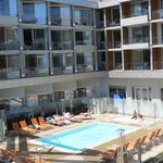 view of the pool area from our balcony