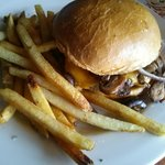 Mushroom and cheese burger & fries