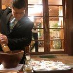 Preparation of Caesar salad