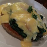 Eggs florentine on buckwheat pancake!
