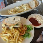snacks of carbonara and club house sandwich