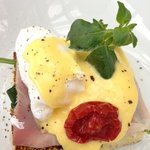 Eggs Benedict, part of the breakfast buffet spread