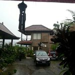 on a rainy day. gunung Agung would've been right there between the 2 roofs. The room with the wi