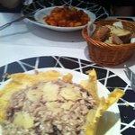 gnochi e risoto de gorgonzola con radichio