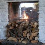 Dinig room fireplace