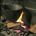 the farm's kitchen fireplace