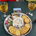 Nice Cheese and crackers and lovely wine.