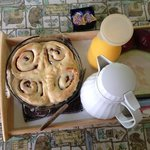 Fresh baked cinnomon rolls delivered to our cottage.