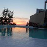 Sunrise on Santorini, at the hotel pool!