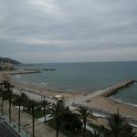 "Viewing Sitges ""old town""(left) from the balcony"