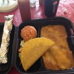 beef taco, enchilada, rice and beans