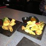 spring rolls and tempura