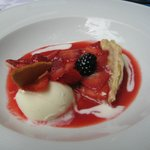 Red berry tart with sauce and ice cream- perhaps the best I have had in Spain.