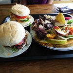True Blue meal with barra burgers
