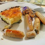 mushroom crusted cheese strata with sausage