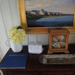 Picturesque chest tabletop decor w/ Nantucket illustrated book