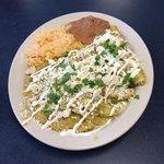 Chicken Enchilada with fresh cilantro and jalapeños
