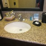 Sink in bathroom--lots of counter space