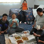 """Family Room 23, Enjoying our lunch (Chinese food """"to go"""" purchased from nearby Chinatown Restaur"""