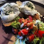 Poached eggs with light yoghurt sauce