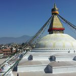 a view of Boudhanath Stupa from terrace
