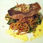 Roasted salmon fillet, wok tossed Hokkein noodles