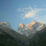 sunset light on Kinnaur Kailash. Seen from Igloo at Sangla