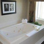 In-room jacuzzi tub next to window