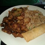 sesame chicken, spring roll, rice, shrimp & veggies