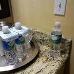 housekeeping staff left a half empty bottle of water that they tried to charge us for