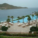 View from the room of the pool and sea