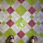 The tile floor of the Pistachio room