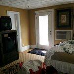 TV, Bathroom, and balcony door