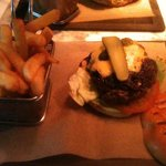Bacon jam Cheese burger and chips